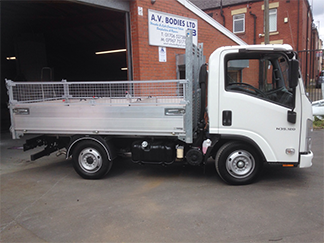 AV Bodies Commercial Vehicle Bodybuilders White Dropside ISUZU van side view