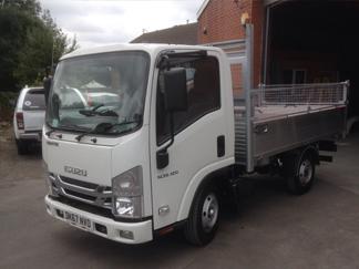 AV Bodies Commercial Vehicle Bodybuilders White Dropside Van Front View